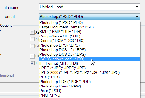 Darmowe wtyczki do Photoshopa - ICO Format