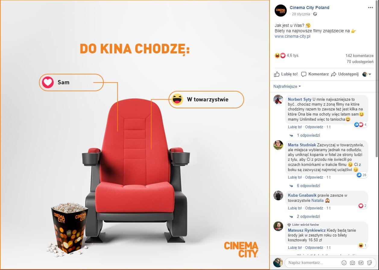 Angażujęce posty na facebooka - przykład post głosowanie reakcjami