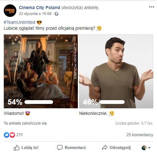Angażujęce posty na facebooka - post ankieta