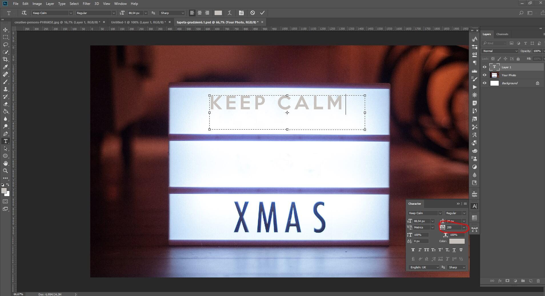 Photoshop usunięcie elementu - dodawanie tekstu