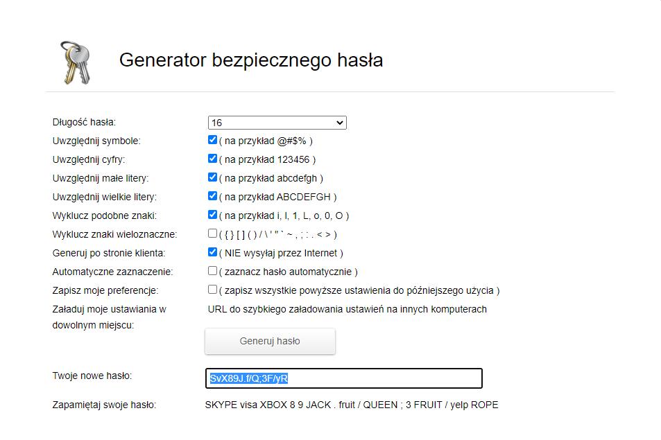 Generator silnego hasła - ekran główny.