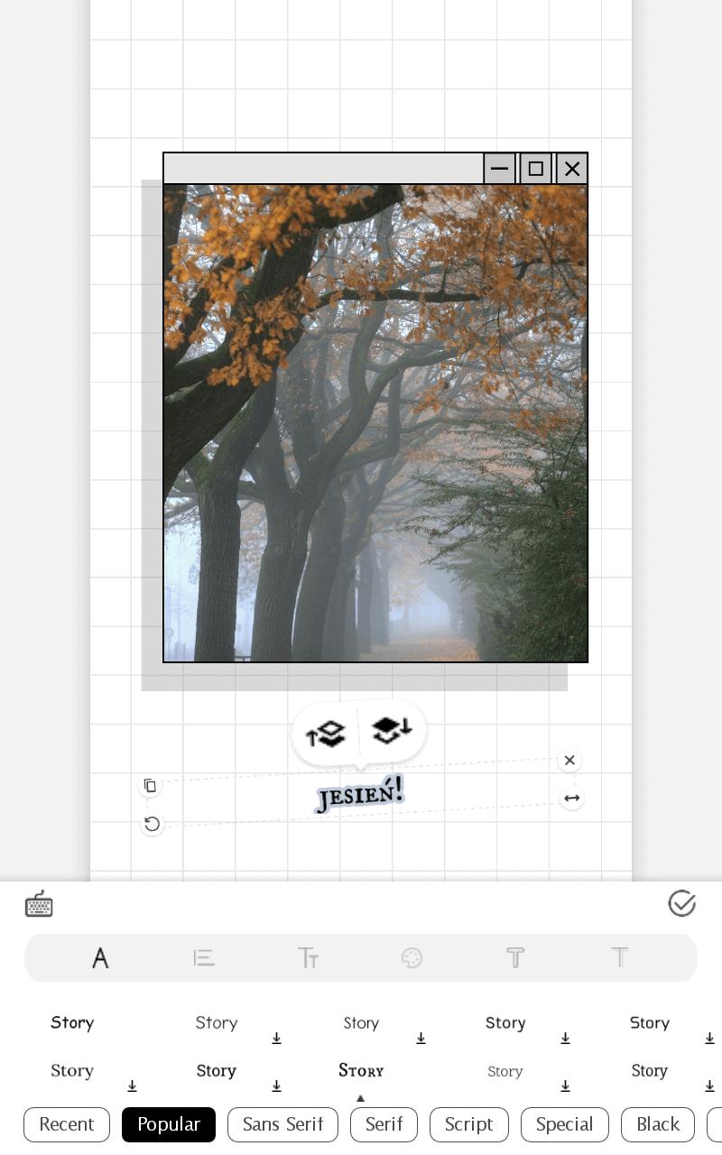Aplikacje do tworzenia stories - przykładowy ekran aplikacji