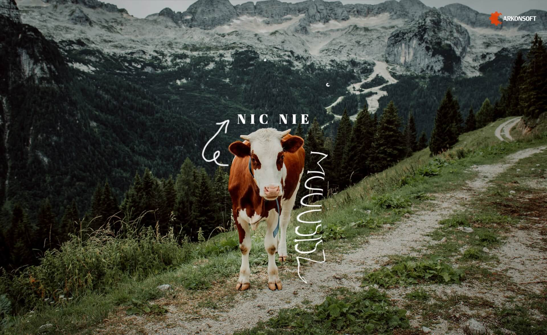 Tapety na pulpit - krowa na tle gór