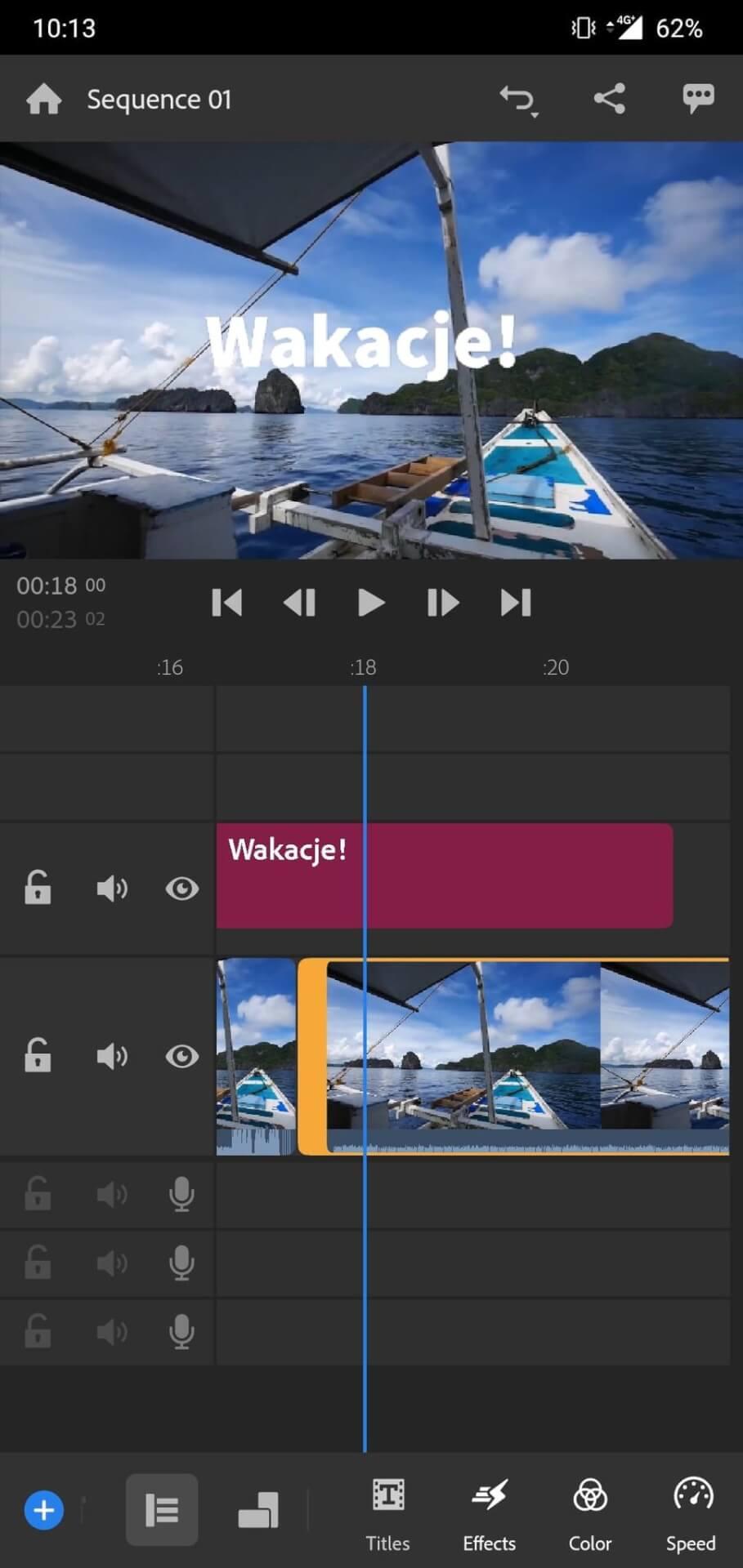 Ekran aplikacji mobilnej do obróbki filmów.