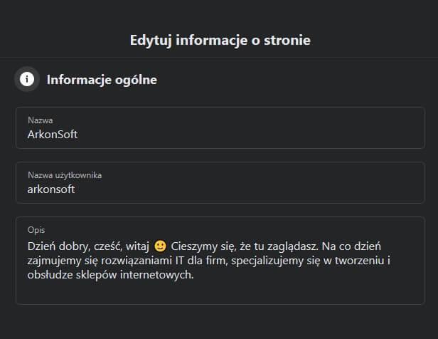 Jak zmienić nazwę fanpage - ekran edycji informacji ostronie